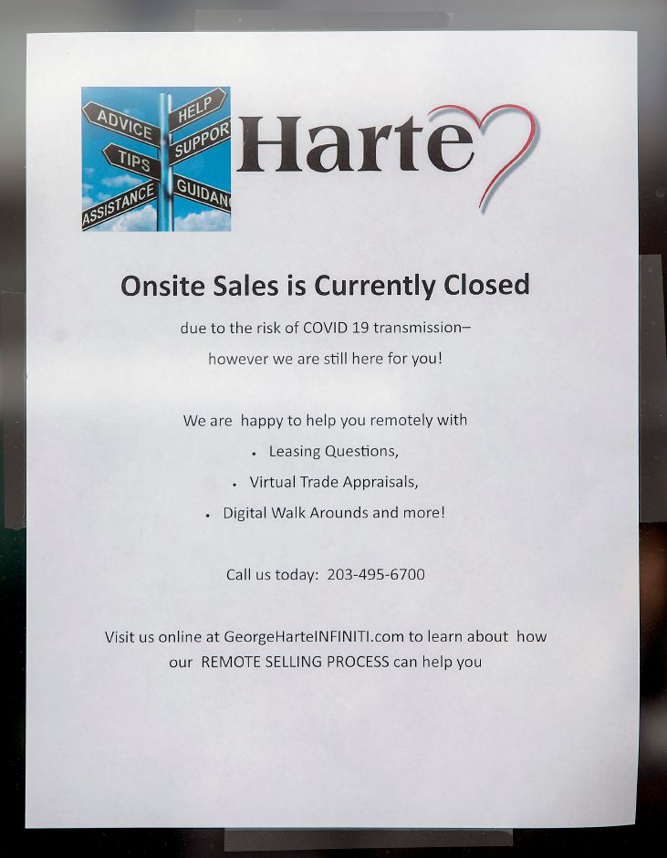 Due to the risk of COVID-19 transmission the onsite sales area is closed at Harte Infiniti, 1076 S. Colony Rd., Wallingford, Tues., Mar. 31, 2020. Dave Zajac, Record-Journal