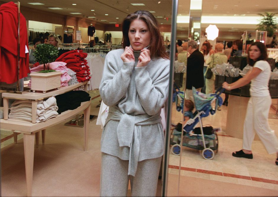 "Terisa Chern, a professional model from Boston, wears a cashmere outfit, one of a line of clothes called ""Exclusively for You"" inside the new Lord and Taylor store in the Meriden Square Mall Sept. 1, 1999."