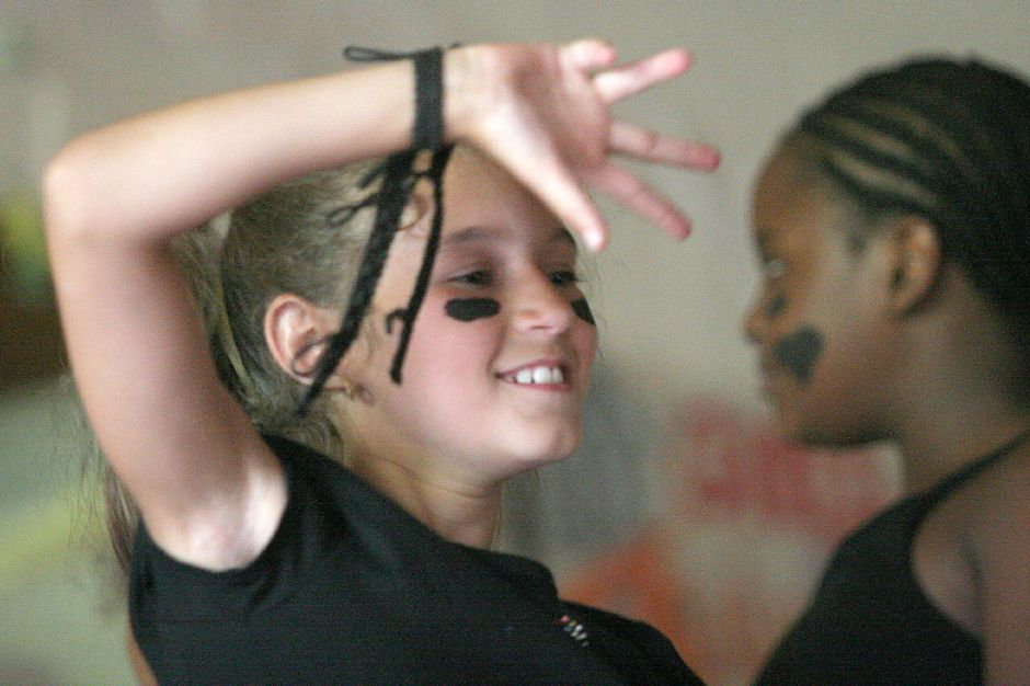 "RJ file photo - Brianna Gratta dance to ""Paint it Black"" with campmates at the week ending performance at Girls Inc. Summer Camp in Meriden Friday afternoon, Aug. 3, 2007."