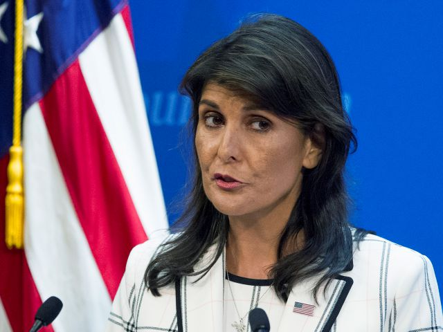 FILE - In this July 18, 2018 file photo, U.S. Ambassador to the United Nations Nikki Haley speaks at The Heritage Foundation in Washington. (AP Photo/Cliff Owen)