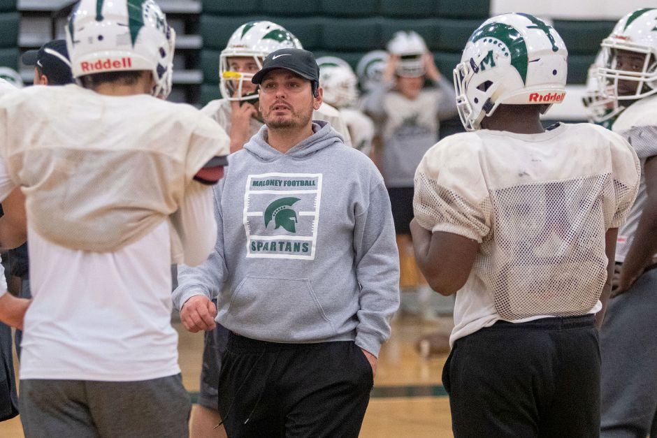 The 2019 football season came to a close for head coach Kevin Frederick and the Maloney Spartans with Monday night's 42-0 Class L state semifinal loss to Daniel Hand in Madison. It was the third straight playoff year for the Spartans, who have gone a combined 29-7 over that stretch. |  Aaron Flaum, Record-Journal