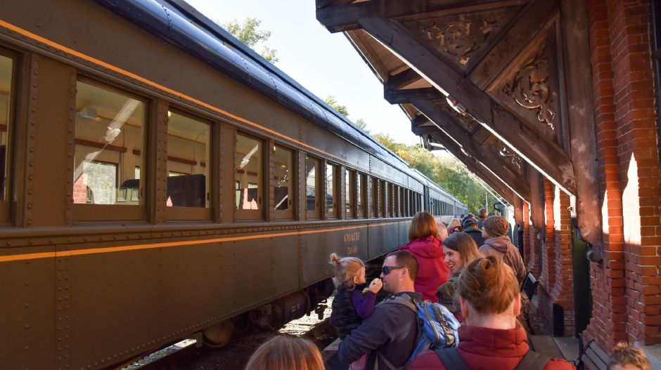 Visitors enjoy the Naugatuck Railroad in Thomaston on Saturday, Oct. 5, 2019. The train included a stop at a private pumpkin patch. | Bailey Wright, Record-Journal