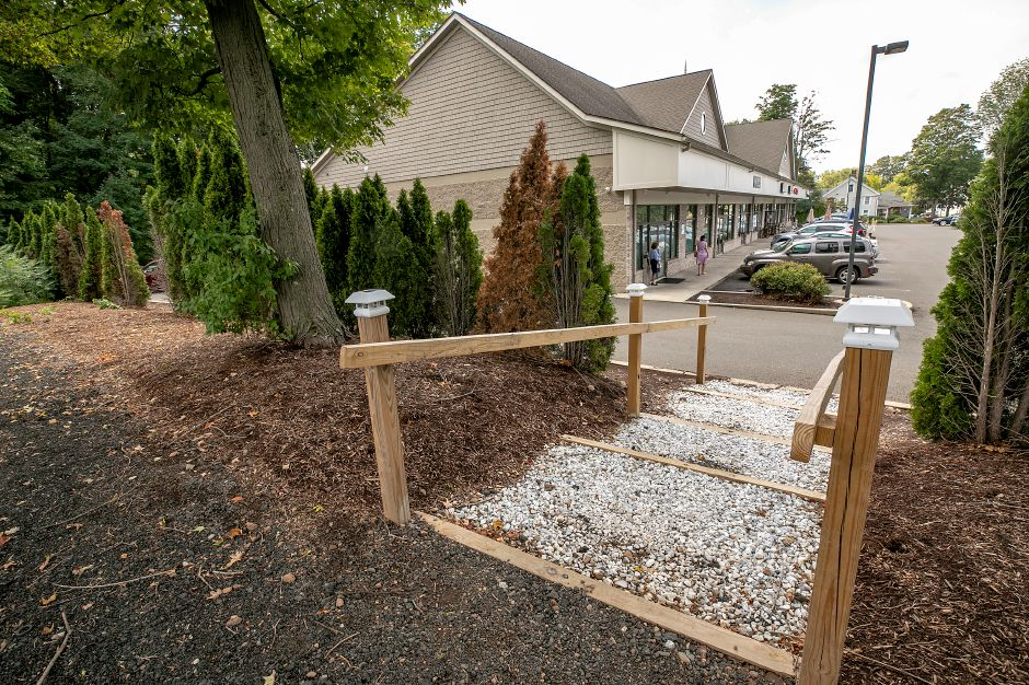 A walkway has been constructed leading from the dispensary in the Sundad Plaza up to the former Civali's Hardware property, which spans 1387-1391 E. Main St. in Meriden, Fri., Aug. 28, 2020. The former Civali