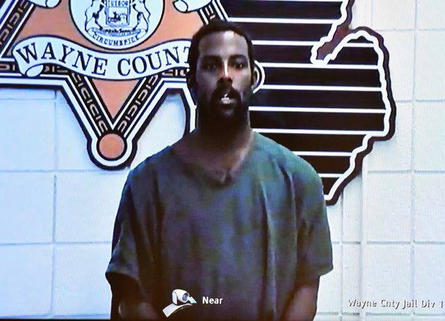Deangelo Martin is displayed on a monitor during his video arraignment at 36th District Court, Wednesday, Sept. 18, 2019, in Detroit. Martin is charged with four counts of first-degree murder and four counts of felony murder in the killings of four women whose bodies were found in abandoned houses in the city as far back as February 2018. Martin, who was arrested in June, was already charged in the stabbing and sexual assault of 26-year-old woman in May and the kidnapping and assault of...