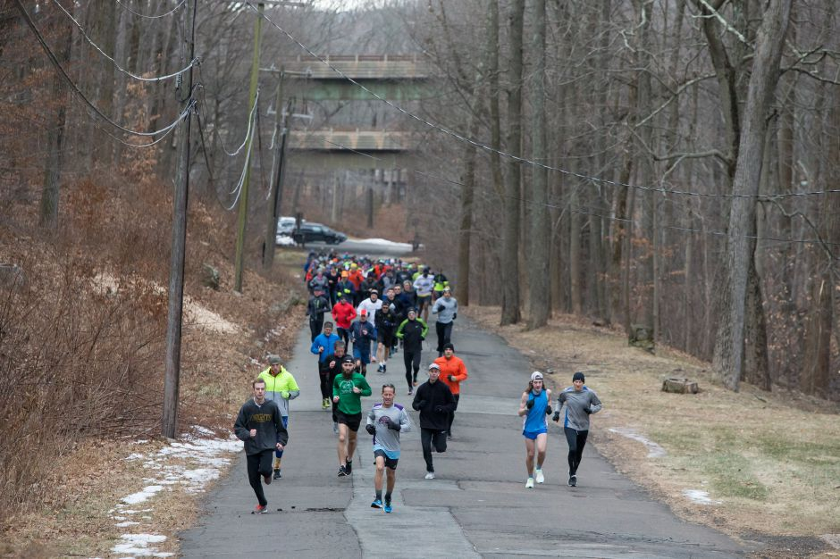 Runners start to spread out during the 50th annual Bernie Jurale Memorial Tradition Run at Hubbard Park in Meriden in 2019. File photo,  Record-Journal