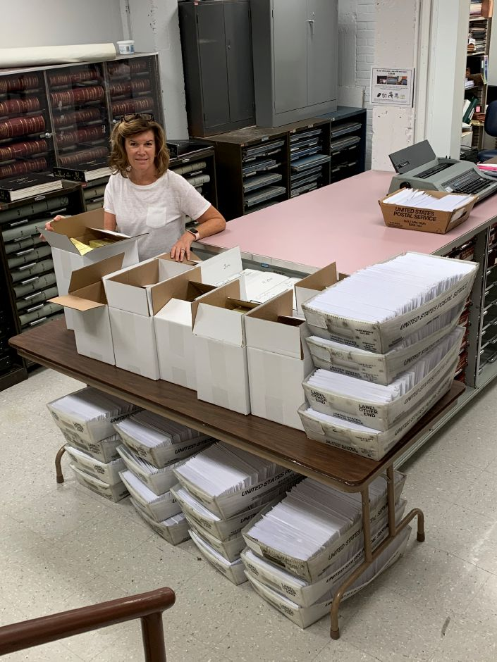 Wallingford Town Clerk Barbara Thompson said her office processed 6,962 absentee ballot applications, every single one her office has received so far, Oct. 2, 2020. | Contributed by Barbara Thompson