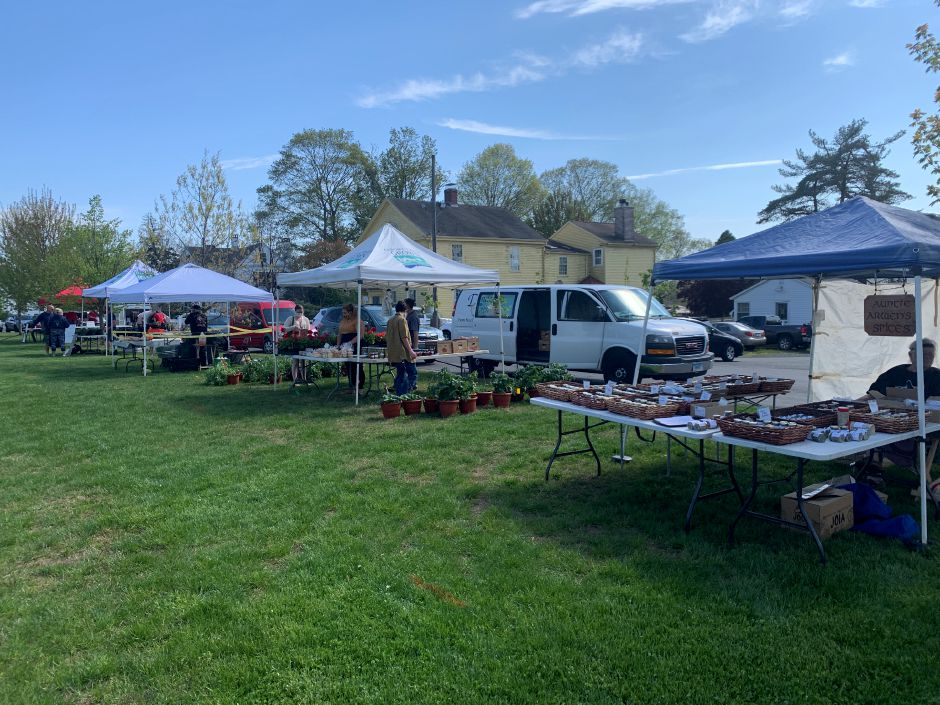The Durham farmers market kicked off the summer season on Thursday, May 14. A total of 22 vendors participated on opening day. Photo by Everett Bishop, Town Times.