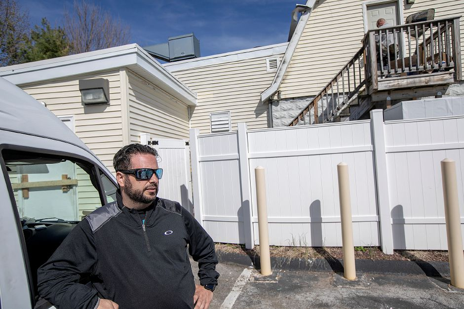 Massimo Riccitelli, of Southington, talks about fire damage to Mamma Mia Restaurant, 1765 Meriden-Waterbury Turnpike, Southington, Wed., Apr. 17, 2019. The restaurant is closed after a blaze Tuesday night. Riccitelli is a family friend of the restaurant owners. Dave Zajac, Record-Journal