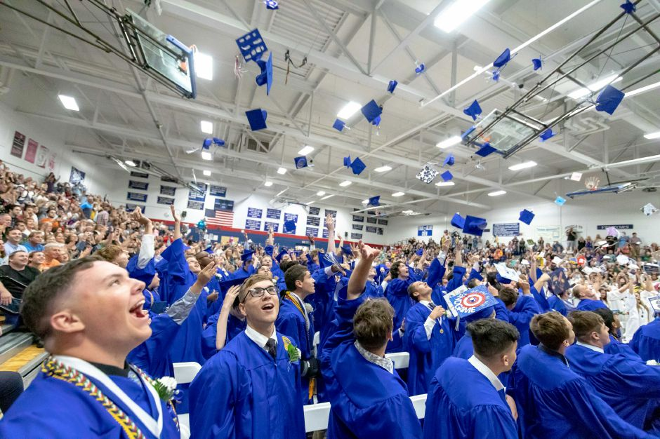 The 2019 Plainville High School graduating class celebrates. | Devin Leith-Yessian, The Citizen