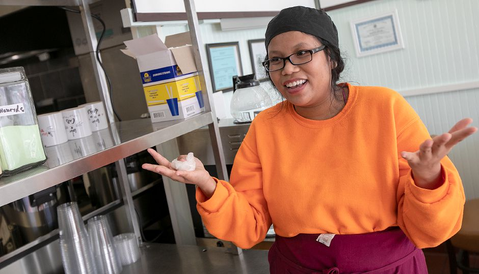 Duangjai Shuster talks about her new restaurant, Thai-Tanic Cuisine, 784 E. Main St. in Meriden, Fri. Feb. 8, 2019. Dave Zajac, Record-Journal
