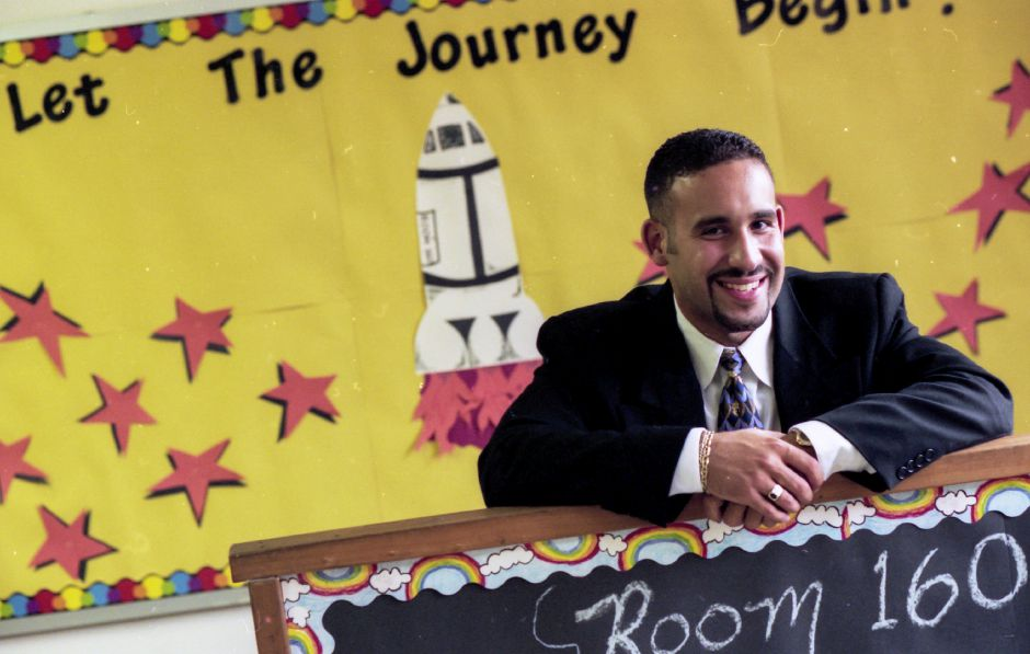 Miguel Cardona, then a first-time teacher, is seen in his classroom at Israel Putnam in 1998. File photo, Record-Journal
