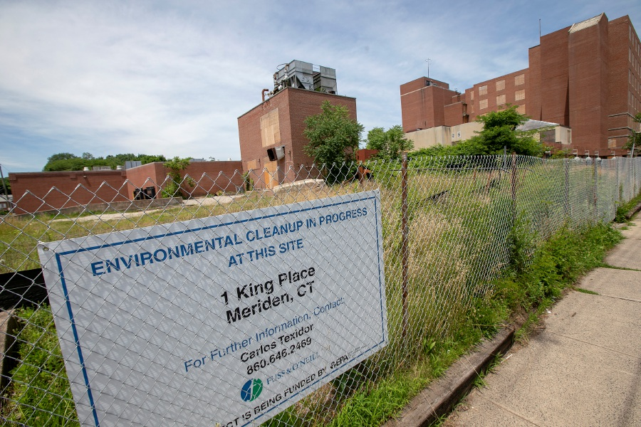 The former Meriden-Wallingford Hospital on Cook Avenue in Meriden, Fri., June 28, 2019. One King LLC signed an agreement in June 2017 to transform the blighted, city-owned 325,000 square-foot structure and two-story parking garage into a housing and commercial complex. Dave Zajac, Record-Journal