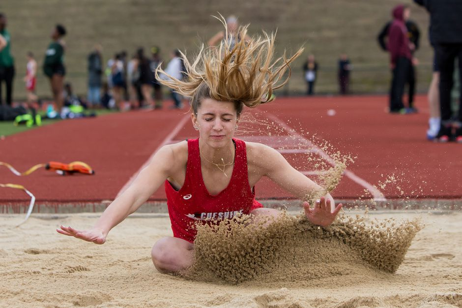Cheshire's Samantha Nowak in her long jump attempt.