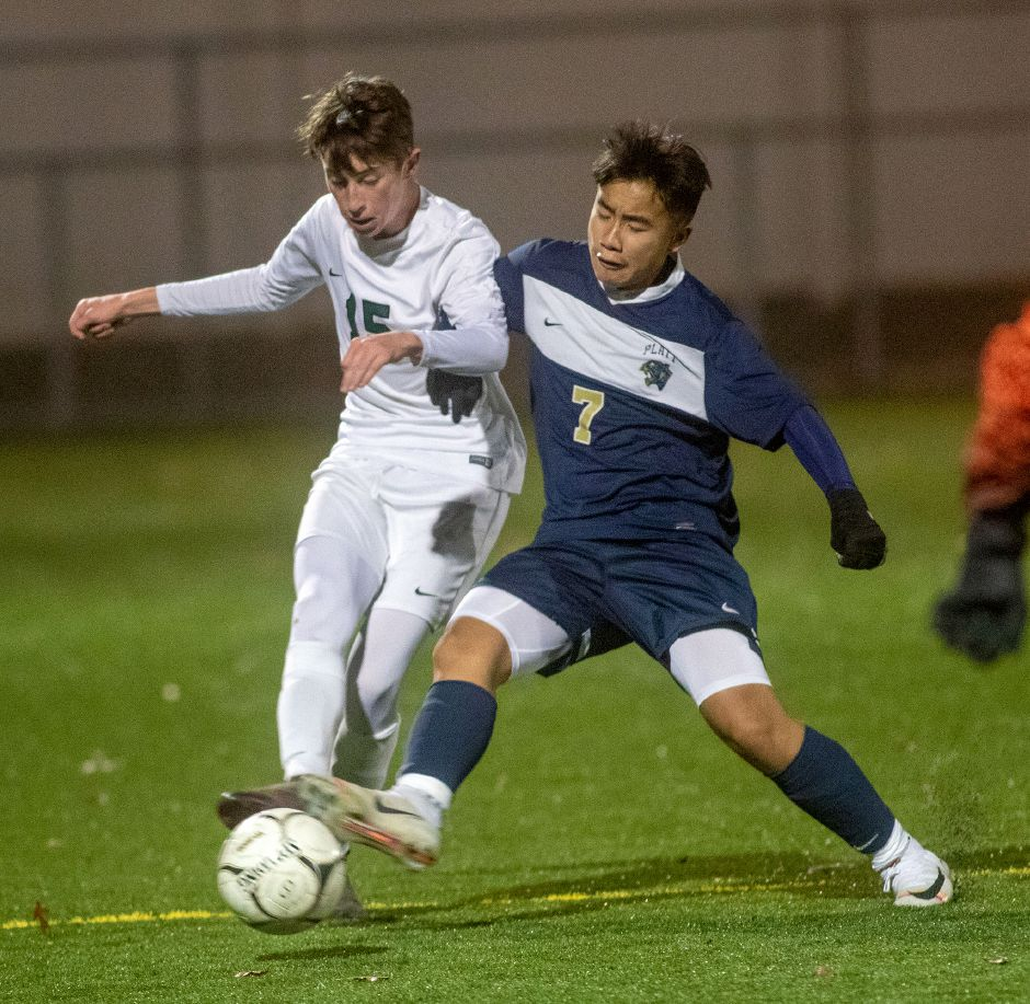 Casey Rintharamy, right, scored two goals Thursday in Platt's season-opening 5-0 victory over Bulkeley. Rintharamy's first goal came less than 90 seconds into the match. Aaron Flaum, Record-Jouirnal