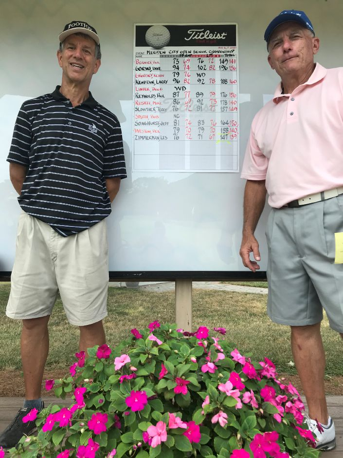 Del Weston (left) and Les Zimmerman are the 2020 Meriden Senior Golf champions. Weston shot a low net of 140 and Zimmerman had a low gross of 140 over the two-day tournament at Hunter Golf Club. It was the eighth city senior crown for Zimmerman. Bryant Carpenter, Record-Journal
