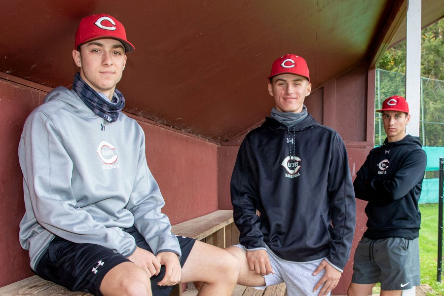 Cheshire baseball players Ryan Scialabba, Max Gustafson and Michael Mercaldi, left to right, have committed to play in college. Scialabba is heading to St. Anselm, Gustafson to Bryant and Mercaldi to Eastern Connecticut. Aaron Flaum, Record-Journal