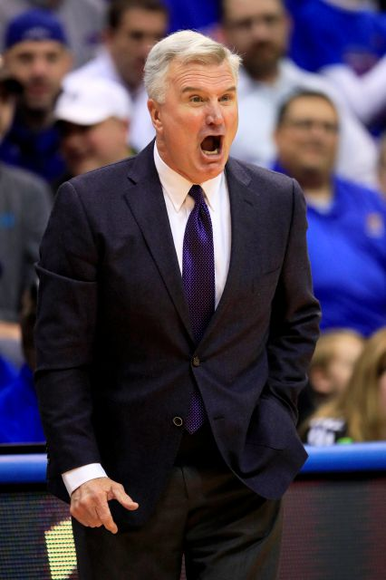 Kansas State head coach Bruce Weber yells to his team during the first half of an NCAA college basketball game against Kansas in Lawrence, Kan., Tuesday, Jan. 21, 2020. (AP Photo/Orlin Wagner)
