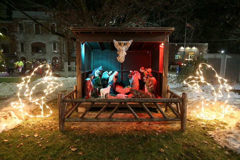 A lit up nativity scene on the green during the annual Southington White Christmas in the Community event on Friday night, Dec. 6, 2019. Emily J. Tilley, special to the Record-Journal.