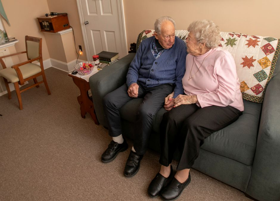 "Ruth and Bob ""Bus"" Williams converse in their living room at the Bradley Home in Meriden, Thurs., Feb. 13, 2020. The couple celebrated their 75th wedding anniversary on Jan. 27. Dave Zajac, Record-Journal"
