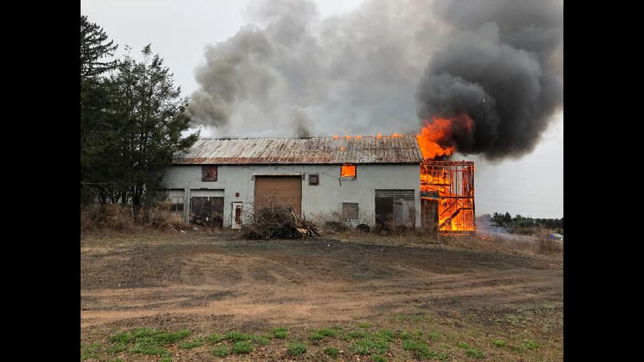 A barn at 95 Warner Rd. in North Haven caught fire Friday evening. | Photo Courtesy North Haven Fire Department