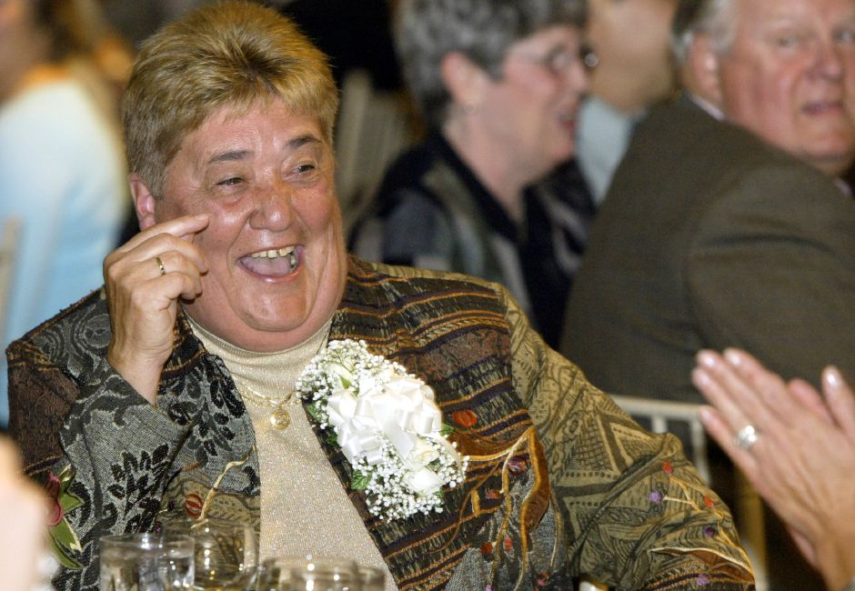 Judy Samaha laughs as she is roasted at her retirement party at the Aqua Turf Club in Southington on Oct. 12, 2006. Samaha retired from Sheehan High School after years of teaching, coaching, and as athletic director.