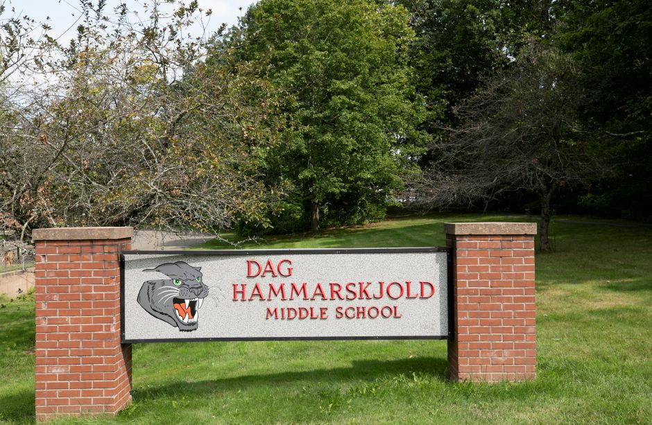 Dag Hammarskjöld Middle School in Wallingford, Mon., Sept. 14, 2020. Dag Hammarskjöld Middle School will be closed until at least Wednesday after an individual associated with the school tested positive for COVID-19 on Sunday. Dave Zajac, Record-Journal