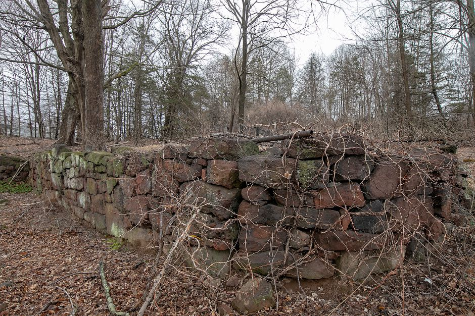 The foundation of a barn, part of remains of an underground railroad stop on the former Curtiss farm on South End Road in Southington, Fri., Mar. 22, 2019. The remains will be preserved despite the planned construction of a subdivision nearby. Dave Zajac, Record-Journal