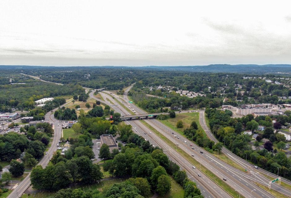 Looking south towards East Main Street and the Interstate 91/Route 15 interchange in Meriden Sept. 5, 2019.