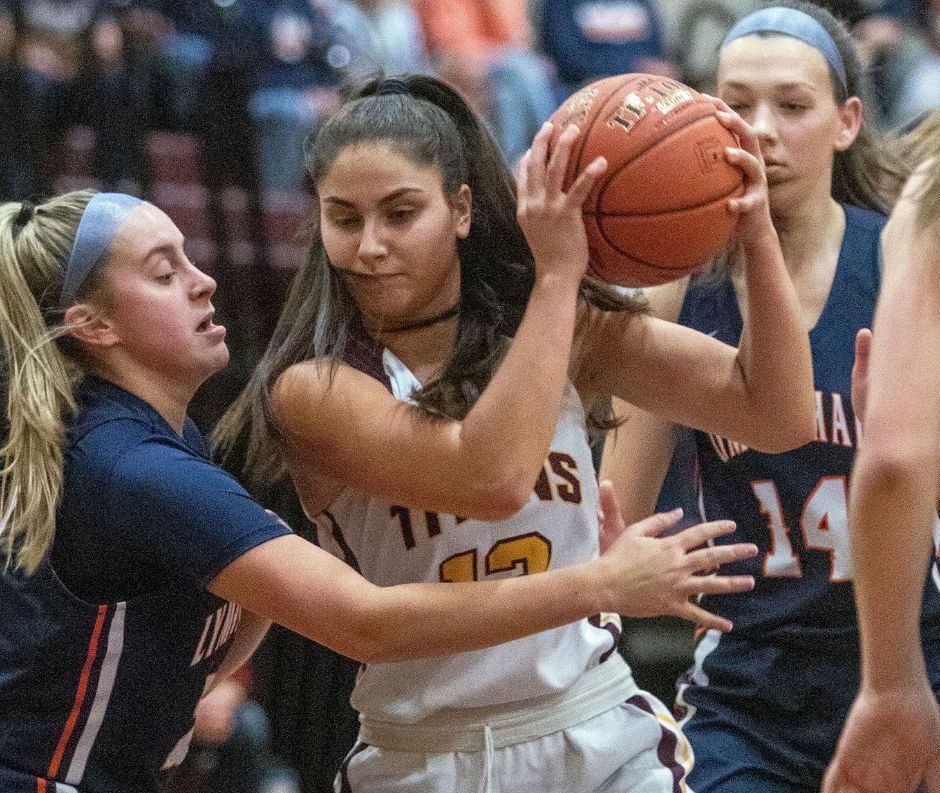 Point guard Caitlyn Velez made the Sheehan machine go in Wednesday's 65-37 SCC interdivisional rout of Amity in Wallingford. | Aaron Flaum, Record-Journal
