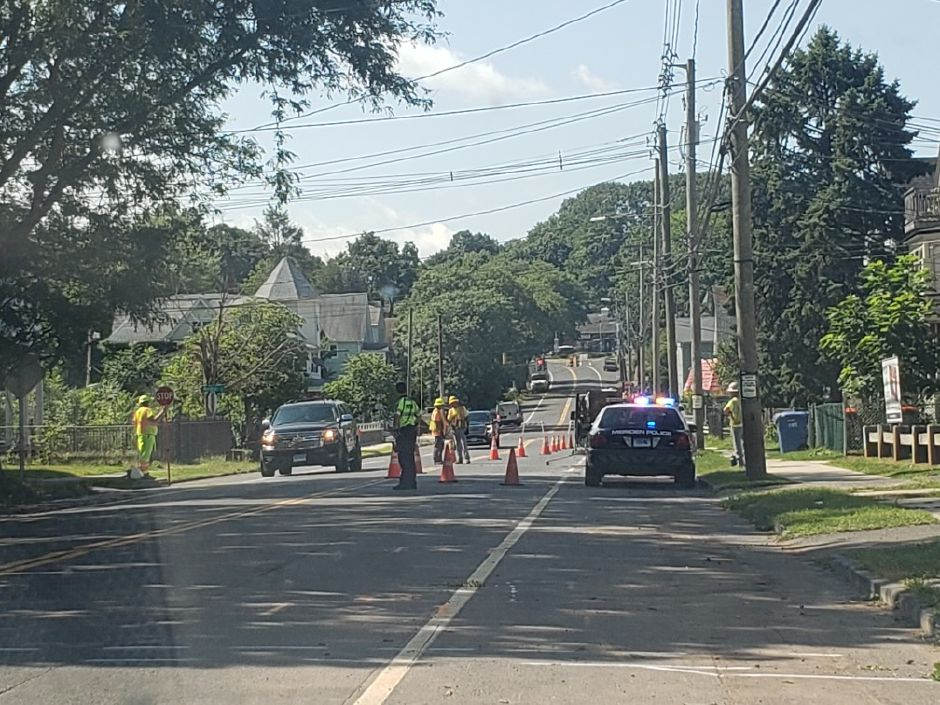 Cook Ave. in Meriden down to one lane of traffic, Wednesday, Aug. 5, 2020. |Lauren Sellew, Record-Journal