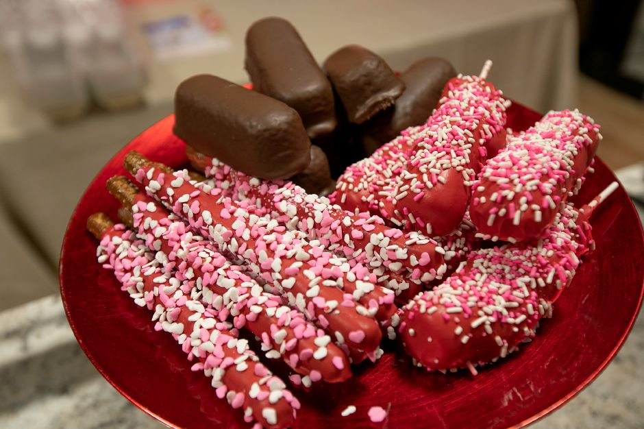 Chocolate covered Twinkies, marshmallow kabobs and chocolate covered pretzels, a small sampling of the many sweets made at Rosie