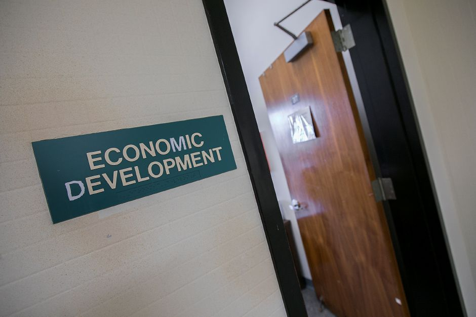 The Economic Development office at Meriden City Hall, Thursday, Nov. 9, 2017. Economic Development Director Juliet Burdelski, who has helped facilitate several major mixed-income housing projects for the city, will be leaving her post in late December. | Dave Zajac, Record-Journal