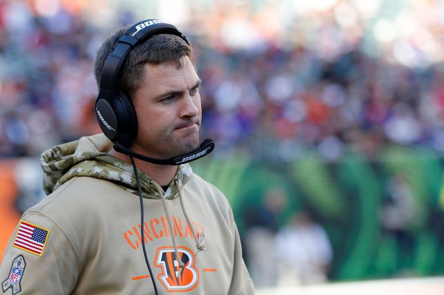 Bengals head coach Zac Taylor reacts during the second half of his team's game against the Ravens on Nov. 10 in Cincinnati. Associated Press