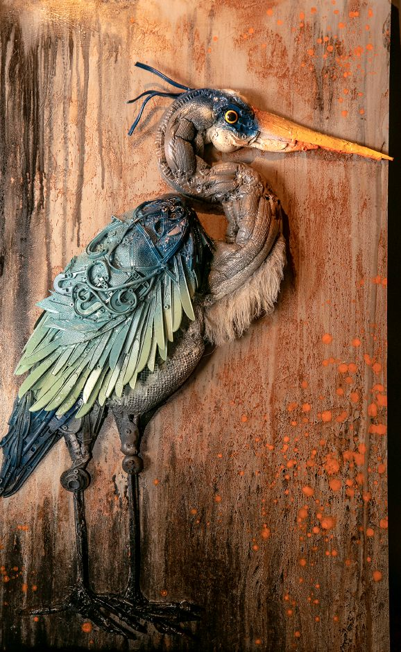 A trash sculpture of a great blue heron by artist Stephanie Hongo, of Southington, Fri., Jun. 26, 2020. Hongo, a studio manager at Art Studio of Connecticut on West Street, creates works of art from a variety of discarded trash, recyclables and found objects. Dave Zajac, Record-Journal