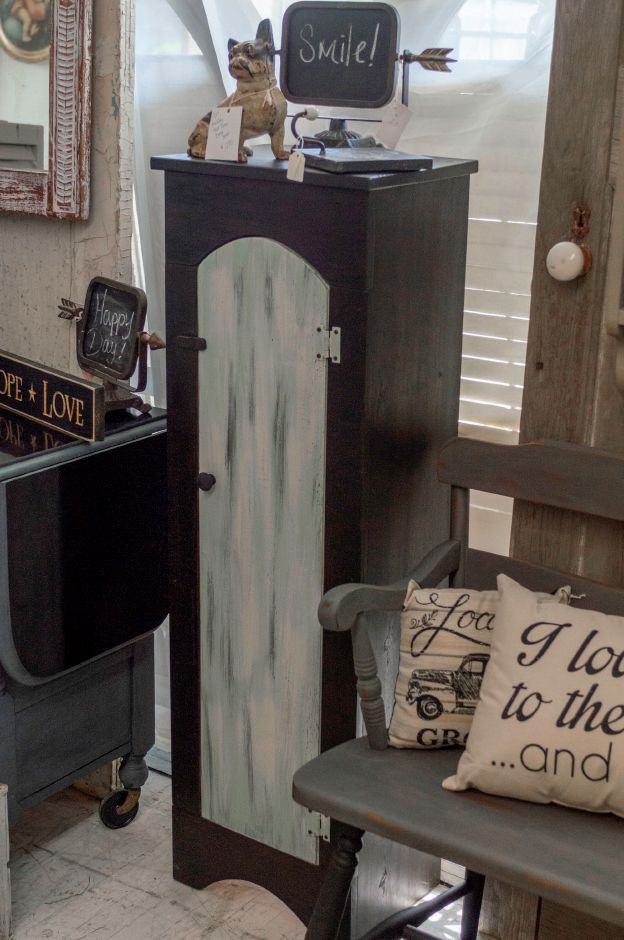 What was once a plain pine cupboard is now a bold statement piece using only a black wood stain and 3 colors of paint. - at 2 Sister