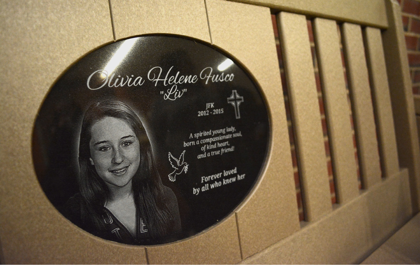 A bench dedicated to Olivia Fusco at John F. Kennedy Middle School on Friday, Jan. 22, 2016. | Bryan Lipiner, Record-Journal