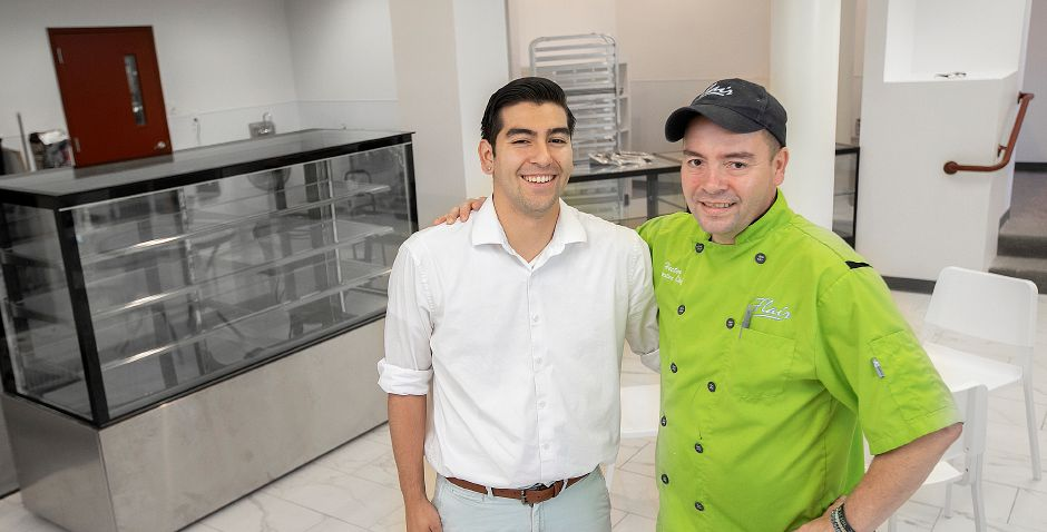 Jose Delgado, left, and father, Hector Delgado, owners of Mix Fine Cakes and Pastries, a new business nearing completion next to their Flair Restaurant and Bar at 98 Main St. in Southington, Thurs., Aug. 29, 2019. Dave Zajac, Record-Journal