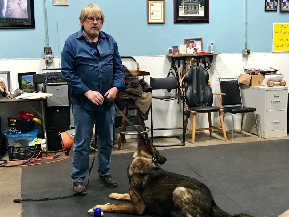 Leonard Paquette, owner and canine behaviorist with his dog Kato at Canine Cadre, 521 Main St. (Route 150), Yalesville. | Ashley Kus, Record-Journal