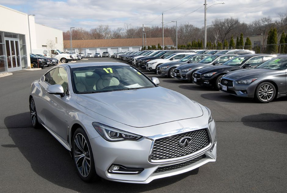 A 2017 Infiniti Q60 for sale on the lot at Harte Infiniti, 1076 S. Colony Rd., Wallingford, Tues., Mar. 31, 2020. Dave Zajac, Record-Journal