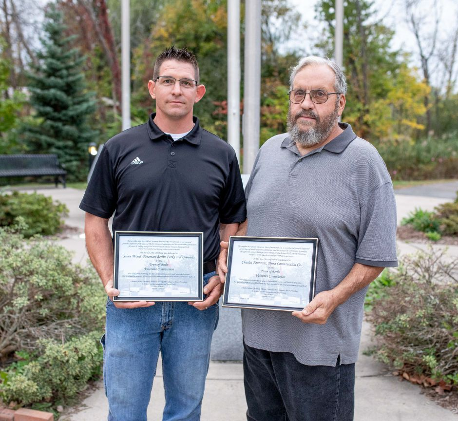 Steve Wood, left, and Charles Paonessa were presented plaques by the Berlin Veterans Commission on Monday, Oct. 7. Devin Leith-Yessian, The Citizen