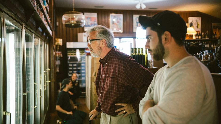 Actor Steve Coulter (left) takes some instruction from director Devin Peluso. Photo courtesy of Devin Peluso