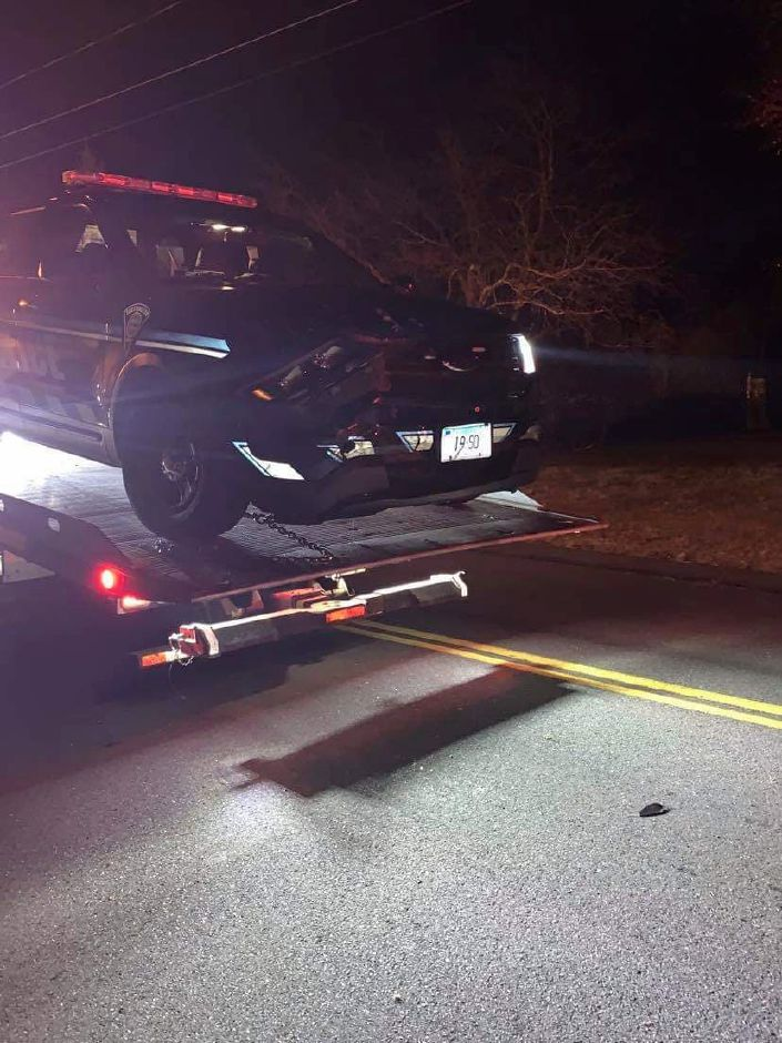 The scene of a crash on Lazy Lane Sunday night that involved a police SUV and a parked car. Two people in the parked car went to the hospital | Submitted by Salvatrice Manuele