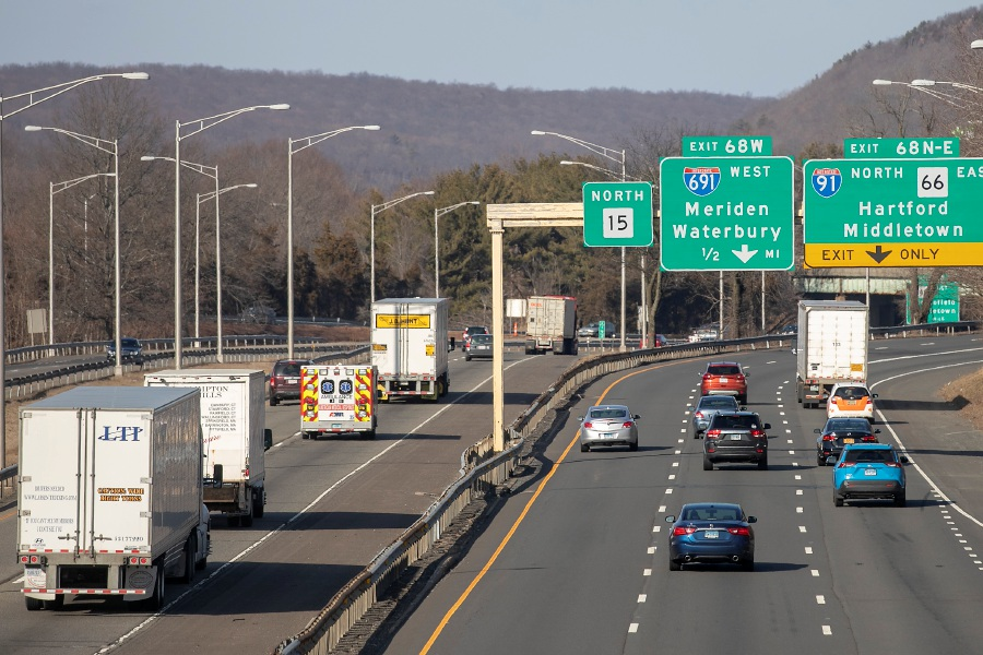 View from East Main Street shows motorists traveling north on Interstate 91 and Route 15 in Meriden, Mon., Feb. 17, 2020. Dave Zajac, Record-Journal