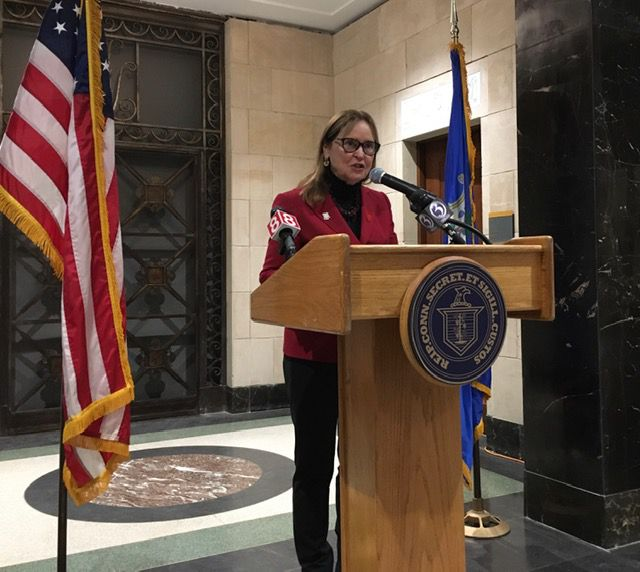 Secretary of the State Denise Merrill announces the candidates qualified for the presidential primary in Connecticut. | Mark Pazniokas, The Connecticut Mirror.