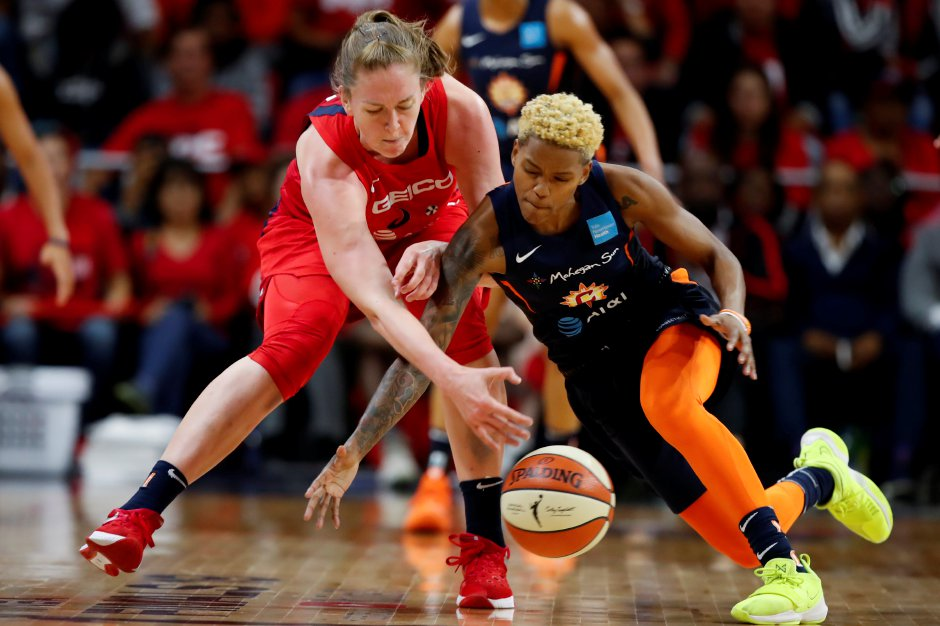 Washington Mystics center Emma Meesseman, left, and Connecticut Sun guard Courtney Williams go for the ball during the first half of Game 5 of the WNBA Finals in Washington on Oct. 10, 2019. On Wednesday, Feb. 19, 2020, The Sun traded Williams to the Atlanta Dream in a three-way trade that brings Phoenix's Briann January to the Sun.