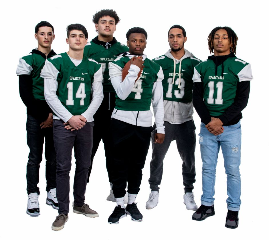 All Record-Journal football players from Maloney are, left to right, Angel Arce, Kody Talento, Trevor Santiago, James Tarver, Sergio Muniz and Kamron Moreno. Aaron Flaum, Record-Journal