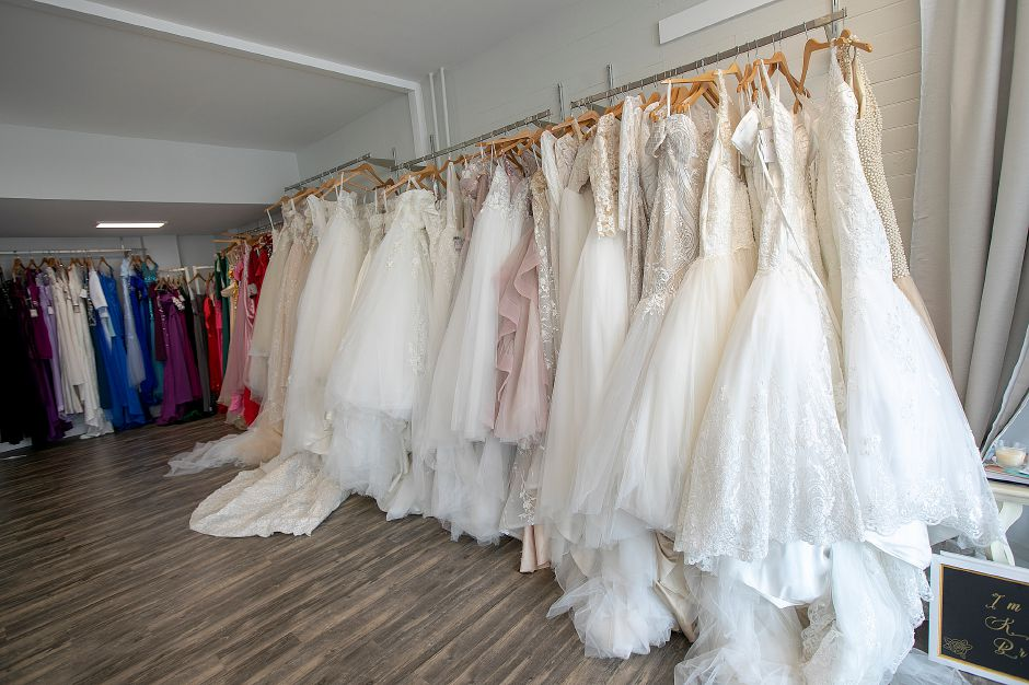 A variety of dresses designed by Jacqueline Torres, owner of Jacqueline Bridal Kouture, a new business at 314 N. Colony St., Wallingford, Thurs., May 23, 2019. Dave Zajac, Record-Journal