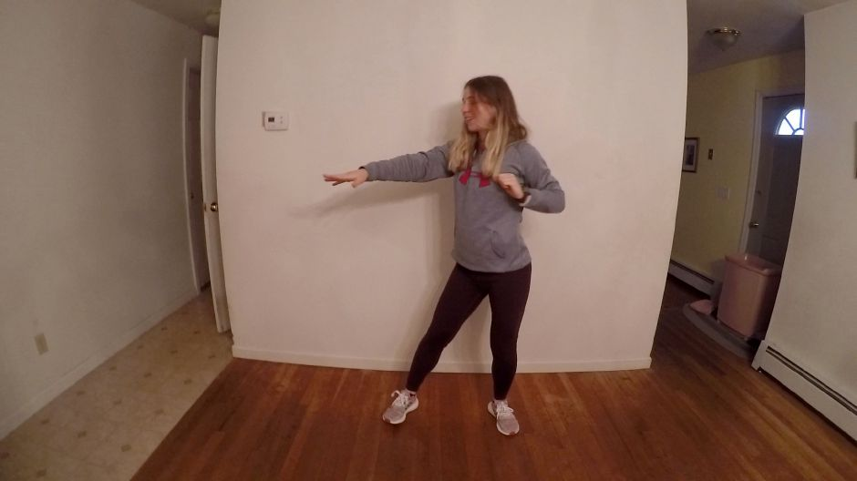 Kristen Dearborn follows along with Zumba moves. |Kristen Dearborn, special to Record-Journal