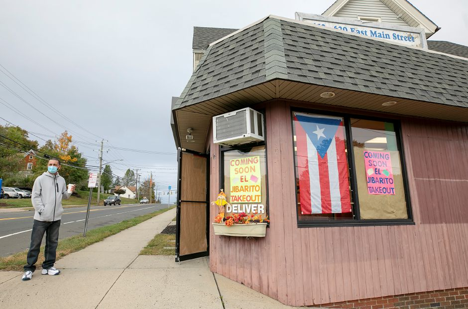 Wilfredo Ribot, co-owner of El Jibarito Take Out, stands outside the new restaurant coming to 620 E. Main St., Meriden, Mon., Oct. 5, 2020. Dave Zajac, Record-Journal