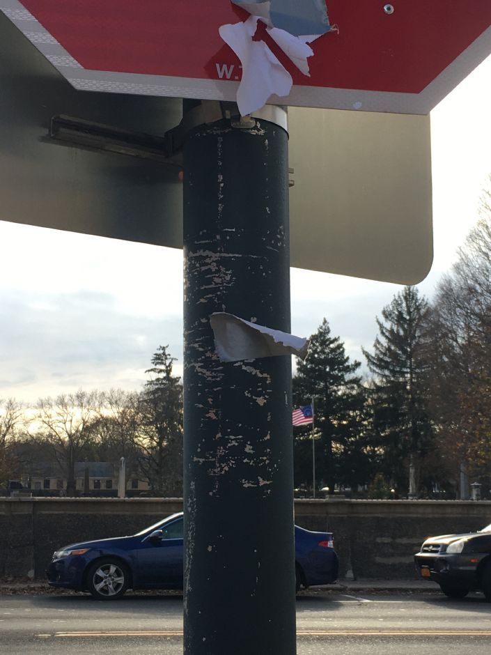 "Flyers with a racial message appeared Sunday, Nov. 10, 2019, around downtown Wallingford for the second consecutive weekend. Remnants of the flyer with the message ""It's okay to be white"" was observed on Center and William streets. 
